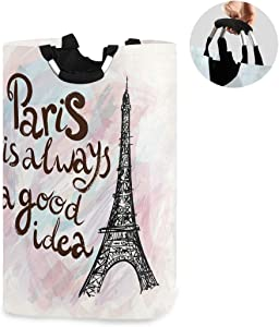 ALAZA Large Laundry Hamper Basket Paris Always Good Idea Eiffel Tower Laundry Bag Stylish Collapsible Oxford Cloth Home Storage Bin with Handles, 22.7 Inch