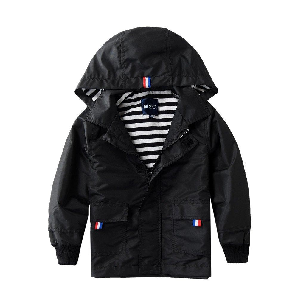 M2C Boys Raincoat Hooded Jacket Outdoor Light Windbreaker 4T Black