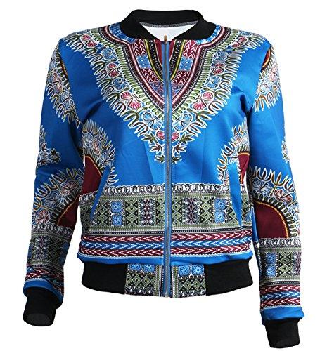 GLADTHINK Femme Africain Dashiki Caftan Culturel Porter Veste 3d Bleu Clair