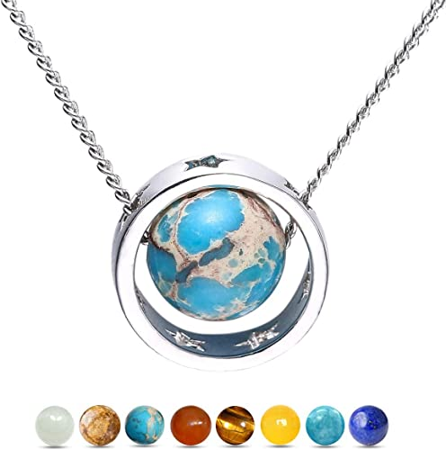 Planet Uranus Design Silver Plated Necklace New in Gift Bag Astronomy Space