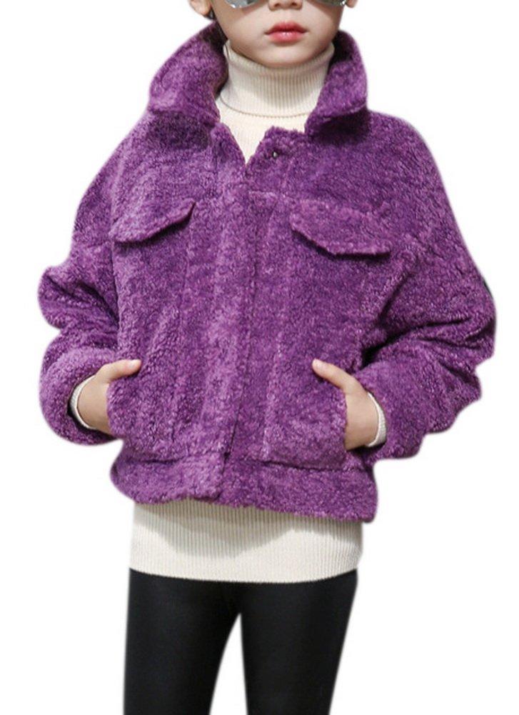 Girl's Winter Durable Shearling Cashmere Bomber Jacket Lapel Short Coat Overcoat