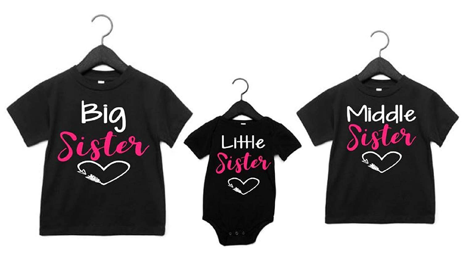 3 Sister Shirts Big Middle Little Sister Set Of 3 Matching Sister Shirts Handmade