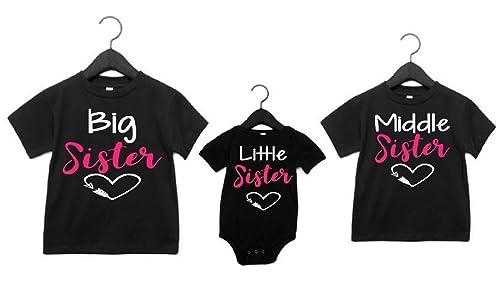Big Sister /& Little Sister Clothing Family Matching Girls Fitted T-Shirt /& Toddler Baby Girls Bodysuit Set