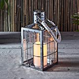 Lights4fun, Inc. Stainless Steel Maritime Battery Operated LED Indoor Flameless Candle Lantern