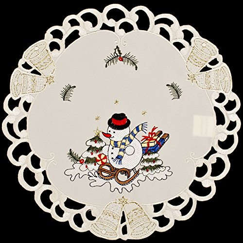 (Embroidered Christmas Snowman and Packages on Ivory 11
