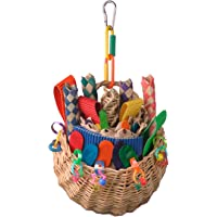 """Super Bird SB669 Wicker Foraging Basket Bird Toy with Array of Chewable Toys for Parrots, Medium Size, 10"""" x 4"""" x 5"""""""