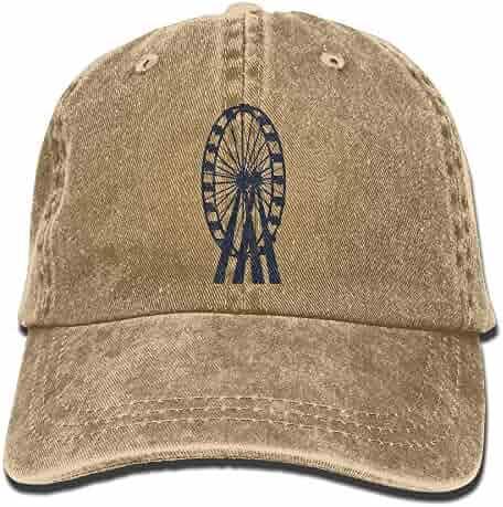 f3585a7c ElephantAN Men Women Ferris Wheel Adjustable Vintage Baseball Caps Washed  Cowboy Dyed Denim Hat Unisex