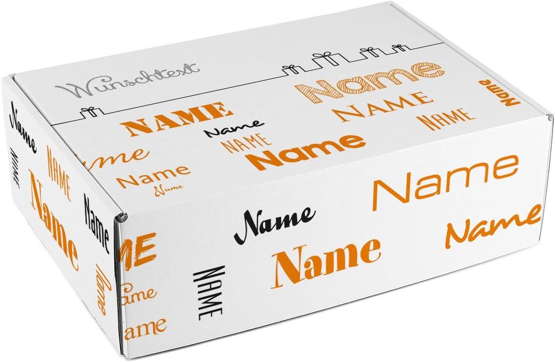 Corazón & Heim® Caja de cartón con nombres en diferentes estilos y texto de cumpleaños/de felicitación de nacimiento/día del padre etc., color naranja: Amazon.es: Oficina y papelería