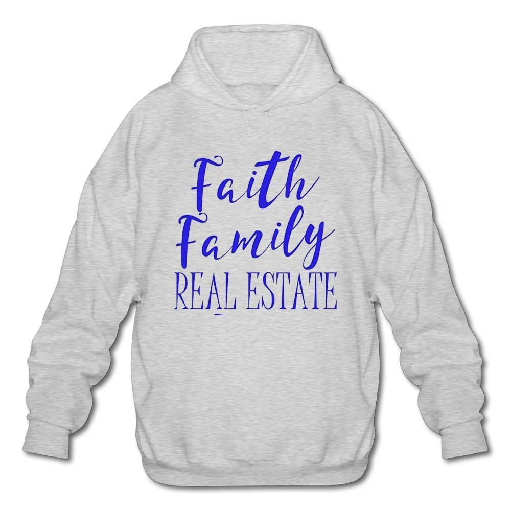 Mens Long Sleeve Cotton Hoodie Faith Family Real Estate 1 Sweatshirt