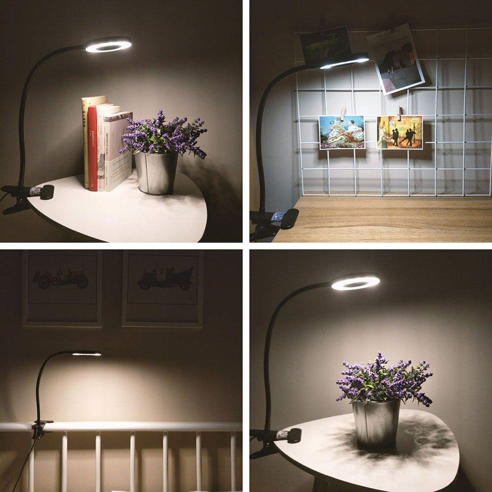 12W LED Reading Light Clip on Light with 3 Lighting Modes 2 Dimming Levels,DZLight Eye-Care Flexible Clip on Lamp for Desk,Bed Headboard and Computers,USB Adapter Included by DZLight (Image #5)
