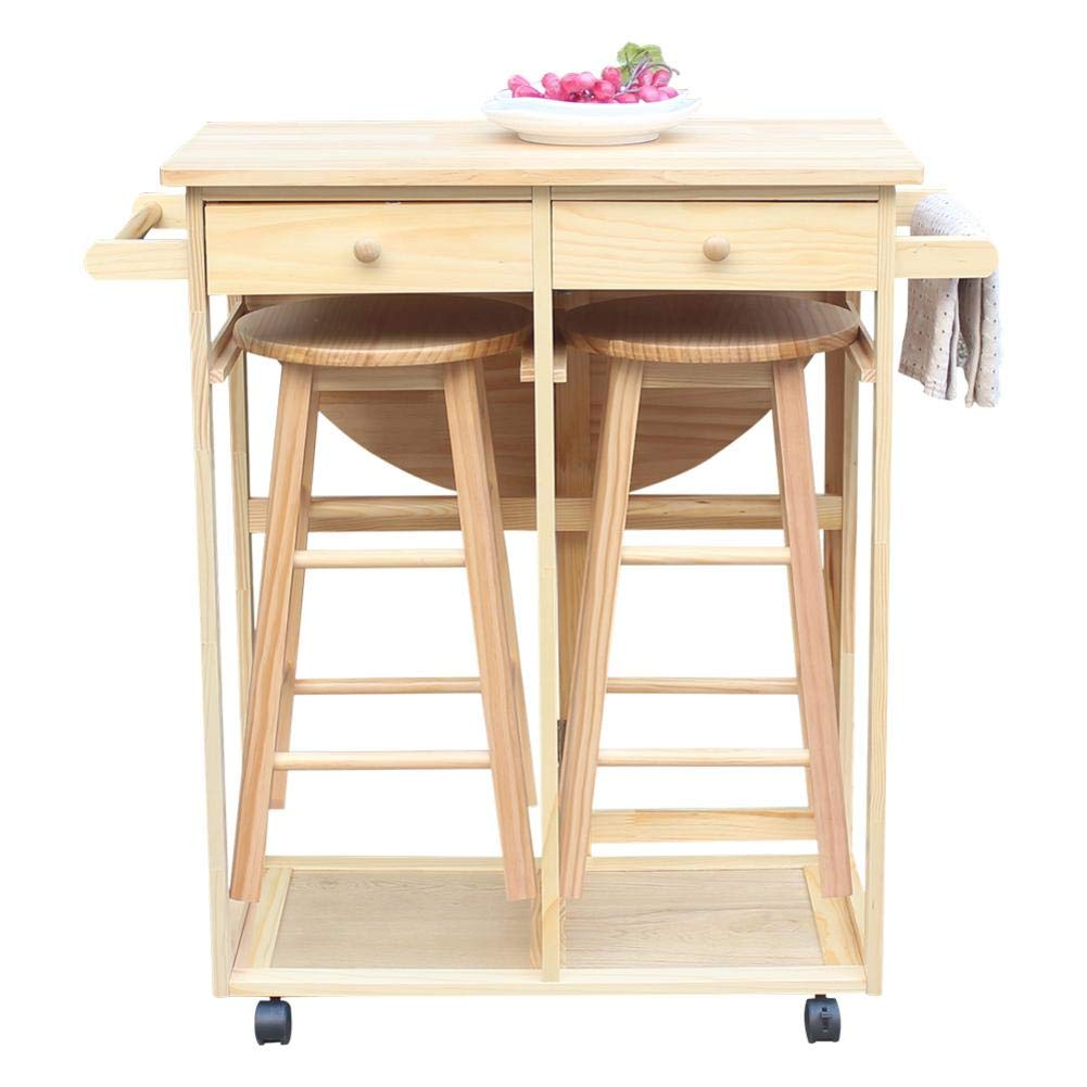 Futureshine Rolling Kitchen Trolley Cart Island Drop Table Beachwood Breakfast Bar with 2 Stools and 2 Drawers by Futureshine