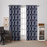 Exclusive Home Curtains Queensland Printed Medallion Sateen Woven Room Darkening Grommet Top Window Curtain Panel Pair, Peacoat Blue, 52x108