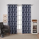Exclusive Home Curtains Queensland Printed Medallion Sateen Woven Room Darkening Grommet Top Window Curtain Panel Pair, Peacoat Blue, 52x108