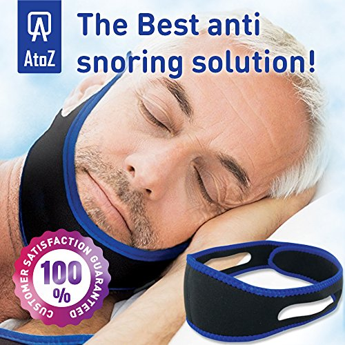 Anti snoring Chin Strap - Snore Stopper Strap - Anti Snore Chin - Best Adjustable Stop snoring Device - CPAP Chin Strap for Sleep apnea aids - Chin Strips Anti-Snoring Strap for Men Women jaw Support