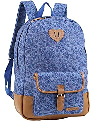 Laura Ashley Girls Violet Blue Denim Kids School Backpack, Navy, One Size