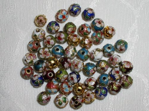 100pcs New 8mm Handmade Mix Round Cloisonne Beads - CLSN8