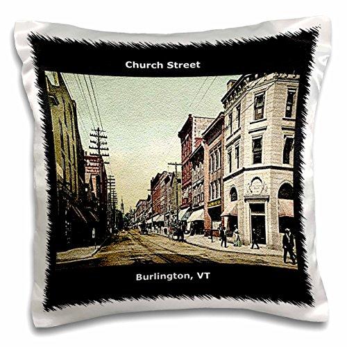 3dRose Church Street, Burlington, VT (Vintage 1907)-Pillow Case, 16 by 16