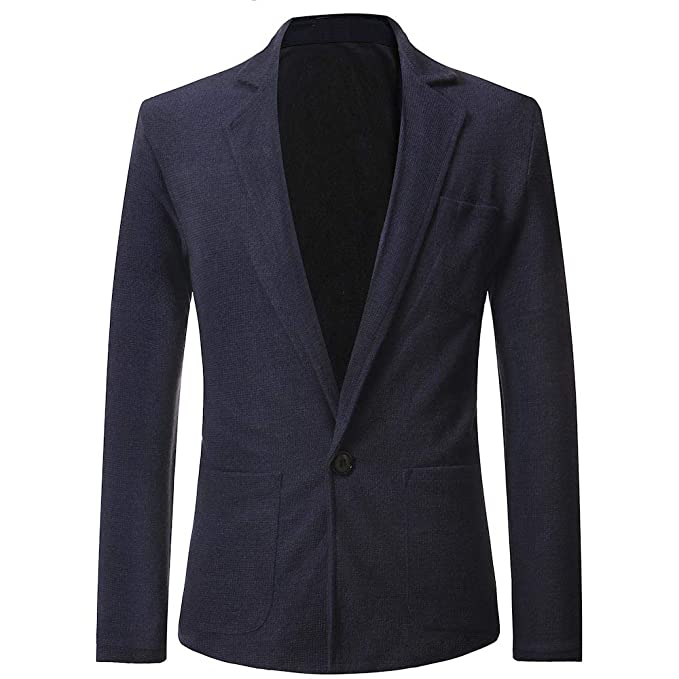 Uomo Slim Fit Uomo Casual One Button Elegante Vestito di Affari Cappotto  Giacca Blazers Top Outwear 351a1c46ab3