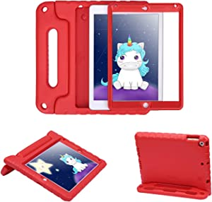 HDE Case for iPad Air 2 - Kids Shockproof Bumper Hard Cover Handle Stand with Built in Screen Protector for Apple iPad Air 2 - 2014 Release 2nd Generation (Red)