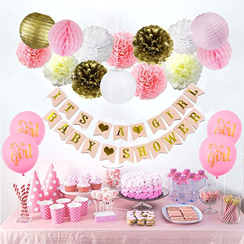 Baby Shower Decorations For Girl - Its A Girl Party Decor - Plush Pink and Gold - Banner - Tissue Paper Pom Pom - Paper Lantern - Balloons - Party Ideas by Sogorge -