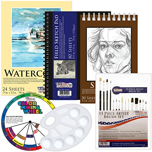 US Art Supply 20 Piece Artist Drawing, Sketch and Painting - Paper and Brush Accessory Pack by US Art Supply