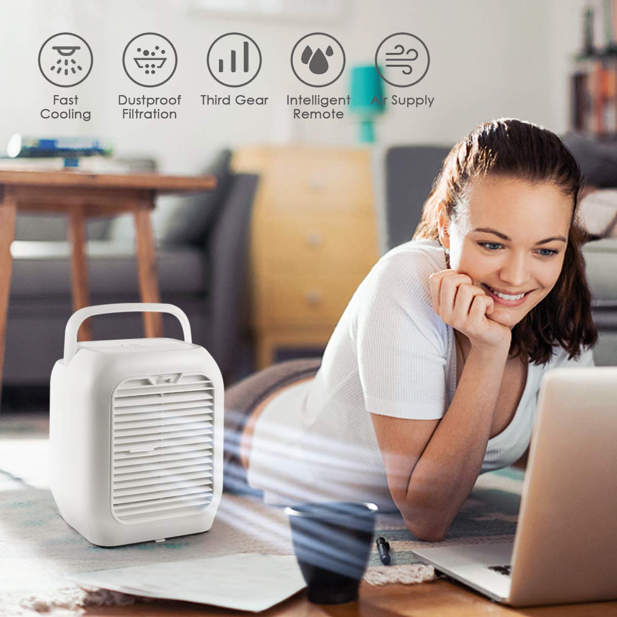 Air Personal Space Cooler Small Desktop Fan Quiet Personal Table Fan Mini Evaporative Air Circulator Cooler Humidifier Bladeless Quiet for Office Dorm Room Personal Air Conditioner Fan Outdoor