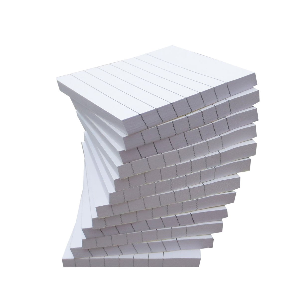 Creatiburg White Self-Stick Note Pads Lined 3x3 inches Sticky Notes White with Lines 12 Pads/Pack 100 Sheets/Pad, Easy Post Individually Wrapped Carton Packaging, School and Office Supplies