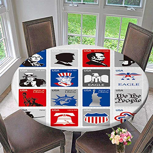 PINAFORE HOME Round Tablecloth USA Symbols Set Icons Framed Stamps for Kitchen 35.5