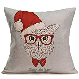 QHB Merry Christmas Square Pillowcases, Christmas Decorative Throw Pillow Covers Cushion Cover Pillowcase for Sofa,Bed,Car (C)