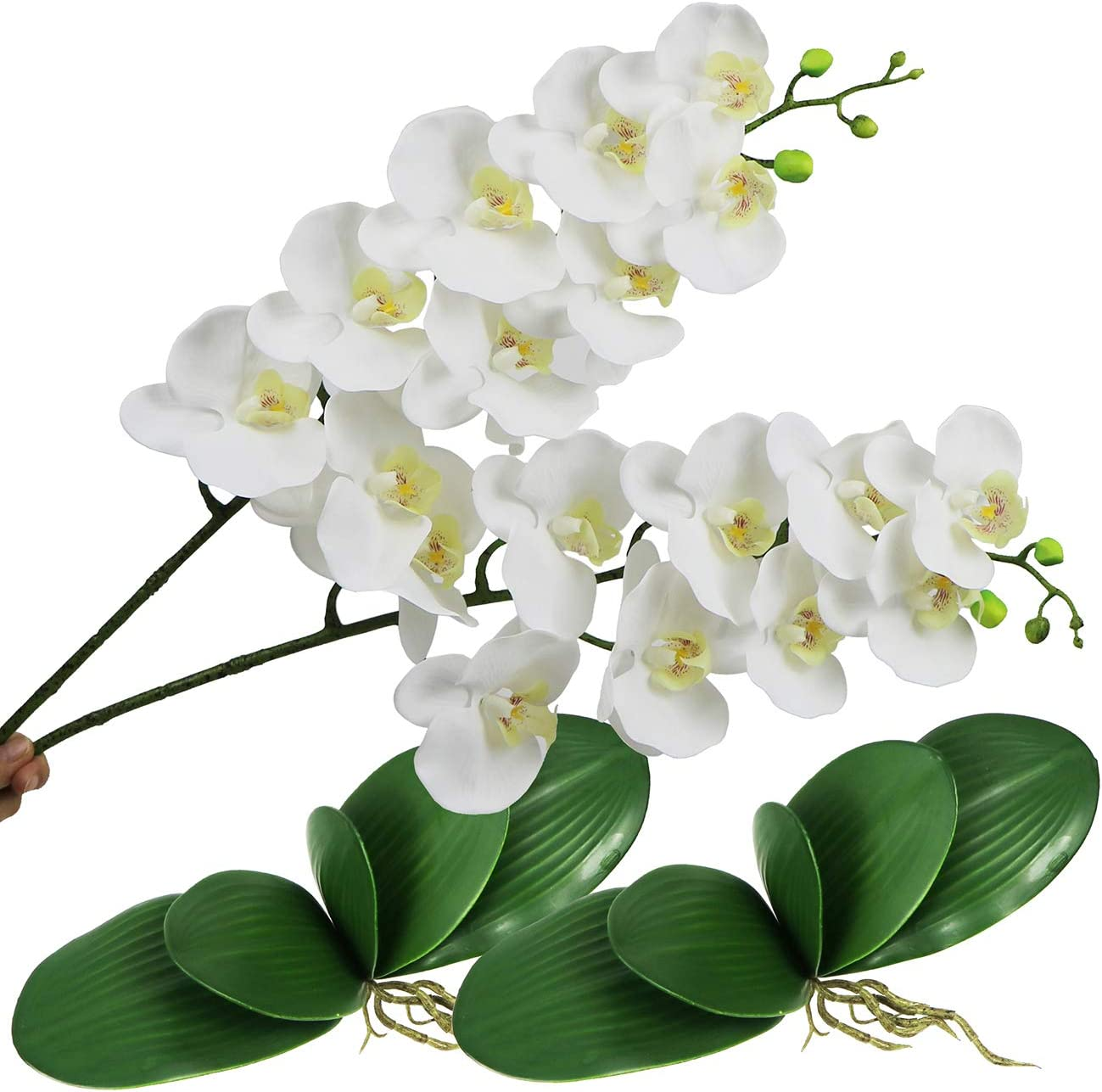 Artificial Orchid Flowers and Leaves Phalaenopsis Flower Branches Real Touch Face Plants Fake Stems Plant for Wedding Party Office Patio Yard Home Floral Decor (White Orchid Flowers)