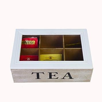 Teebeutel Box Teekiste Teebox 6 Fächer Holz Weiß Tee Aufbewahrung Teekasten