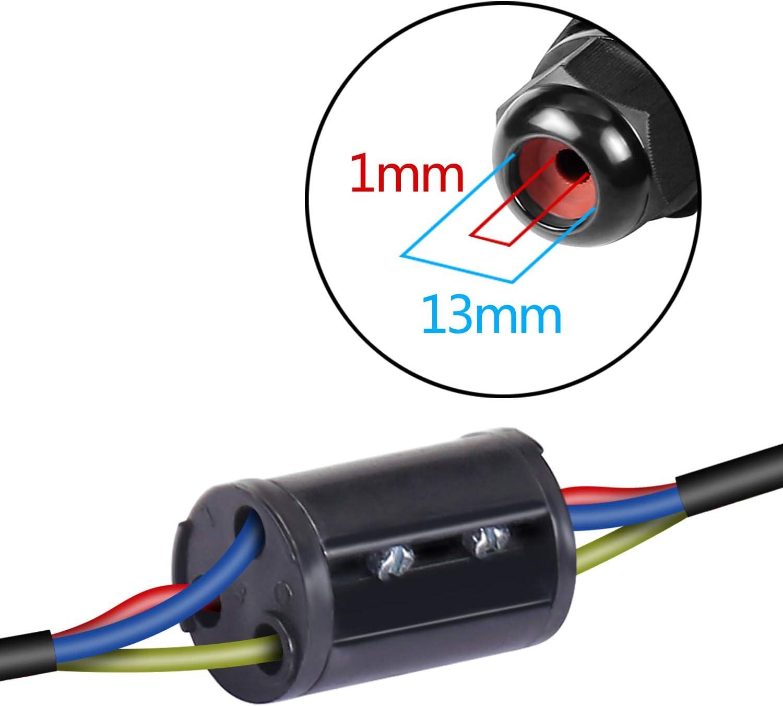 2 Wege Outdoor Wasserdichte Anschlussdose Kabelverbindungsstücke IP66 Schwarz
