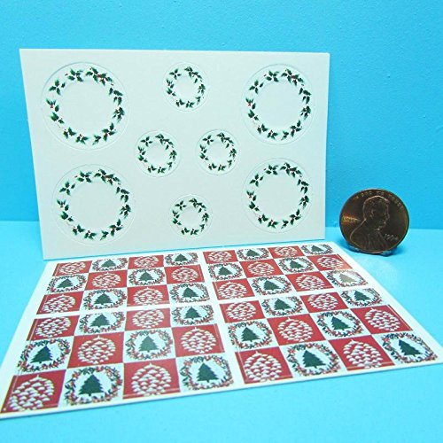 - Dollhouse Miniature Christmas Holly Plates & Tree Place Mats Settings CLA - My Mini Fairy Garden Dollhouse Accessories for Outdoor or House Decor
