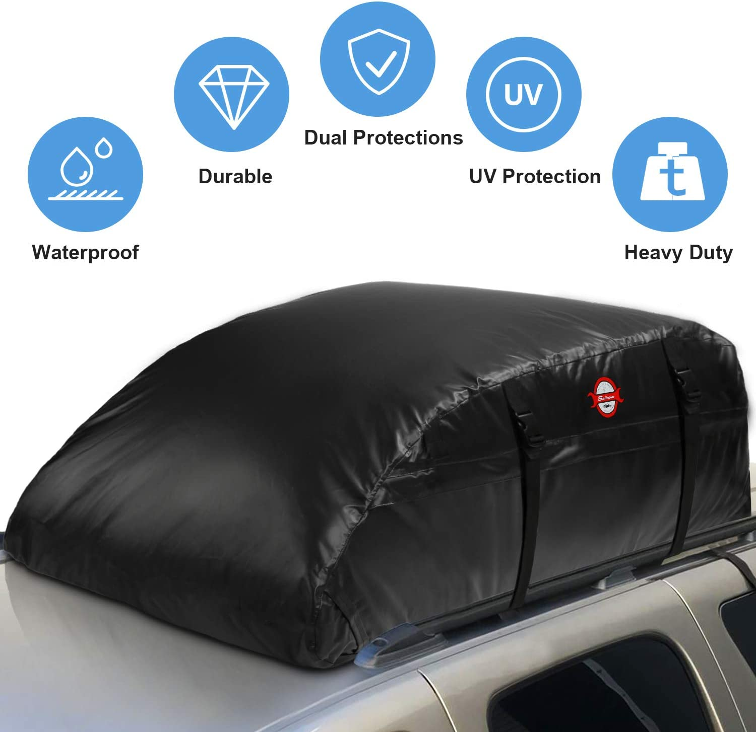 Car Top Bag,Roof Bag Cargo Carrier,Waterproof Auto Luggage Topper Rooftop Bag for Car with//without Rack,Universal Vehicles Roof Storage Bag for Jeep SUV Toyota Subaru with Protective Mat,15 Cubic Feet