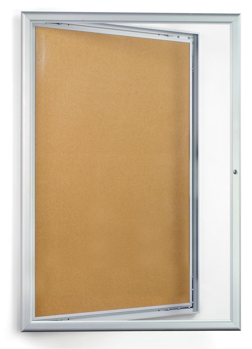 Displays2go 24 x 36 Inches Enclosed Bulletin Board with Silver Aluminum Frame with Locking Swing-Open Door (CKSBTW2436)