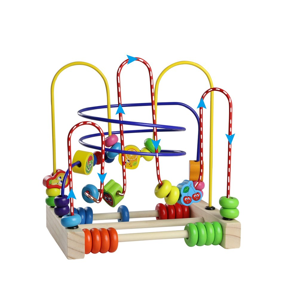 Fajiabao Bead Maze Wooden Toys Roller Coaster Colorful Abacus Circle Toy for Kids Boys Girls