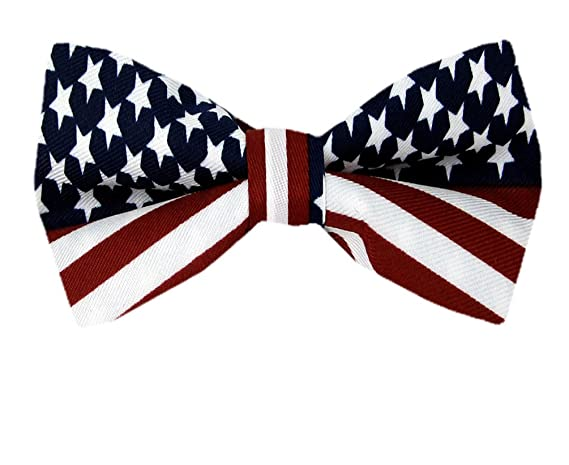 FBT-FLAG - Red - White - Blue - American Flag Self Tie Bow Tie
