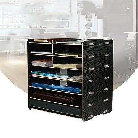 Caja de almacenamiento para archivadores de madera, tamaño A4, 7 capas, color negro