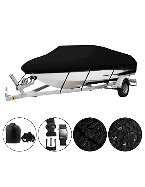 Oofit Trailerable Boat Cover Waterproof Breathable All Weather Proof Boat Cover With Heavy Duty 600d Marine Grade Polyester Canvas Fits V Hull