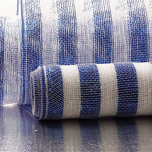 21 X10 Yards Blue/Irdst Strps On White Deco Mesh Paper Mart