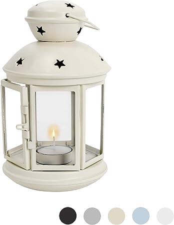 m/étal//Style Vintage 20 cm Nicola Spring 6 lanternes Porte-Bougies /à Suspendre int/érieur//ext/érieur Blanc