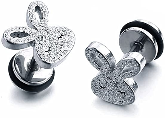 Set Of 4 Pairs Of Sterling Silver Ear Studs Rabbit,Ball,Star,Clear Cz Gift Boxed