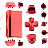 Jadebones Chrome Plating Replacement Repair Buttons with 2 Springs Set for PS4 Controller DualShock 4 (Red)