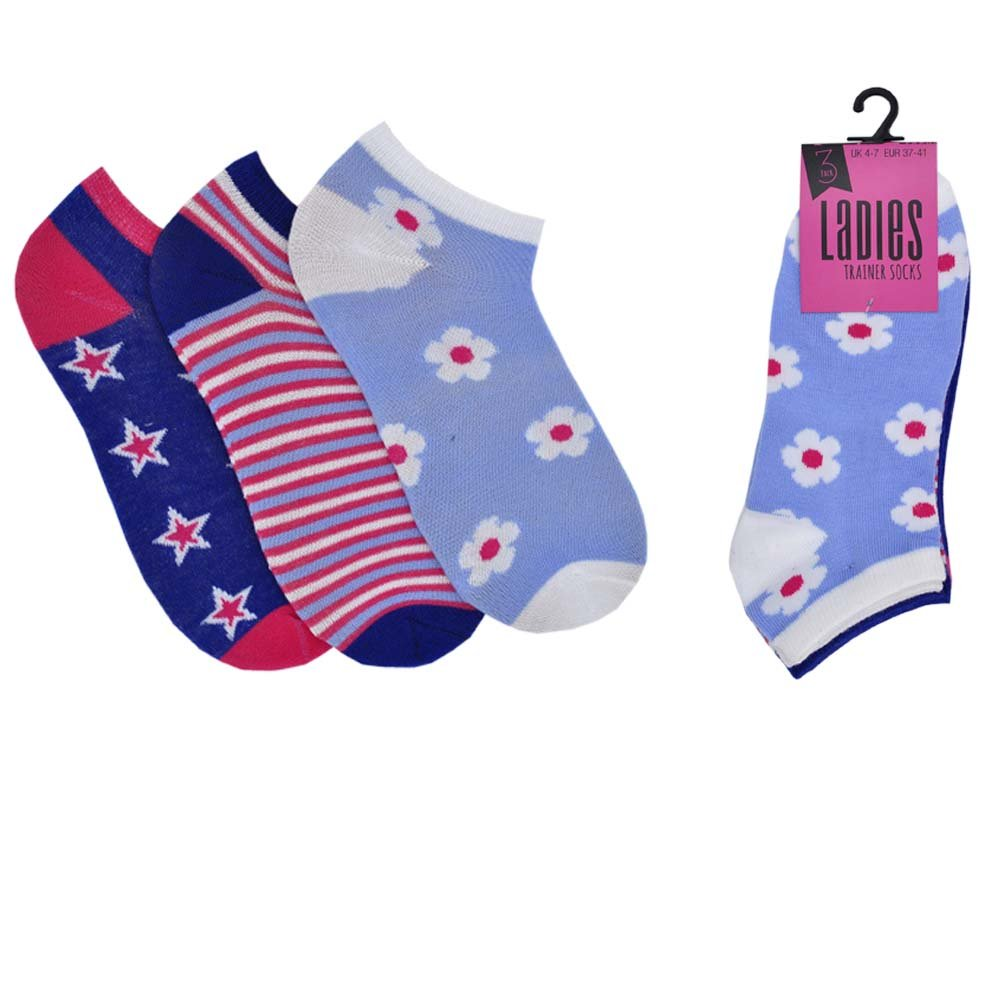 3 or 6 Pairs of Ladies Women's Trainer Sport Cushion Liner Socks 3)