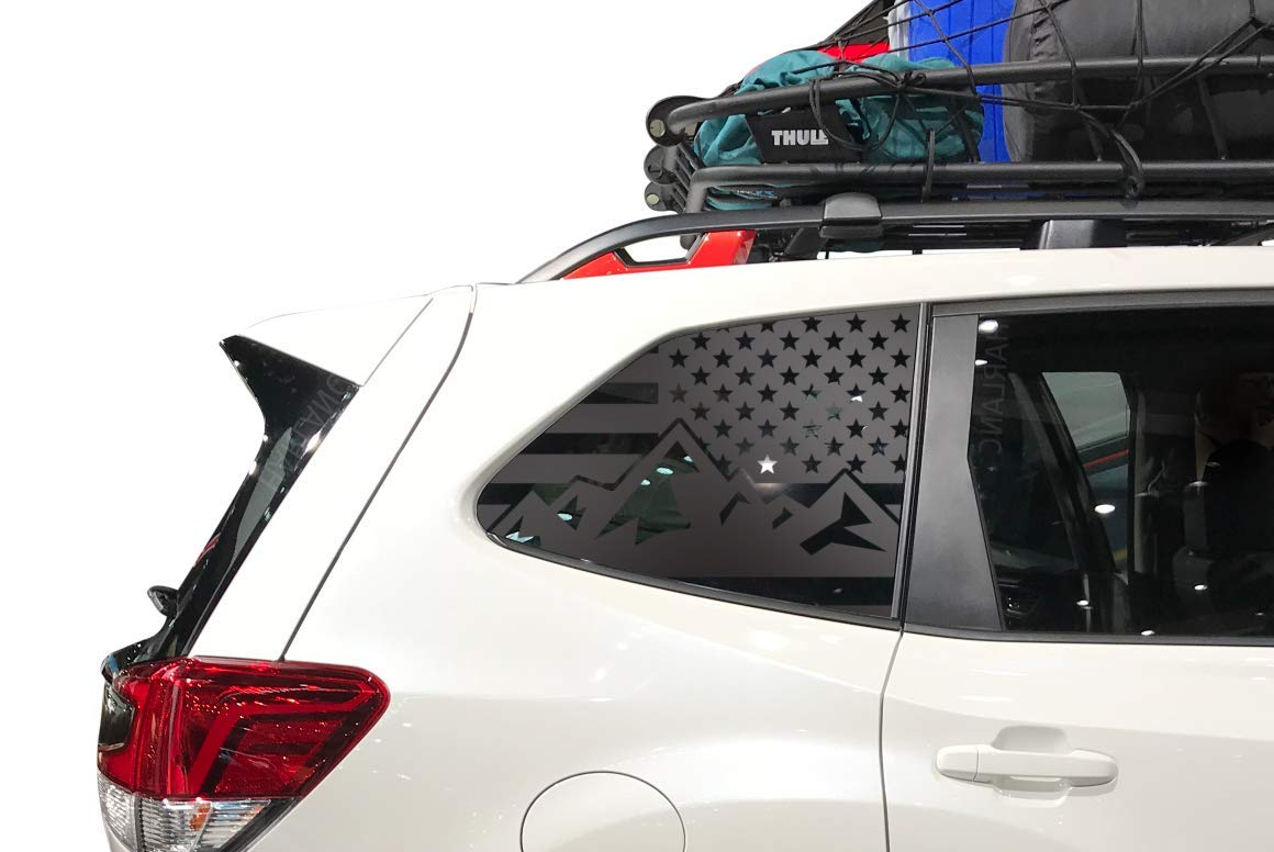 fits 2019 Subaru Forester QB17A Mountain USA American Flag Decals in Matte Black for side windows