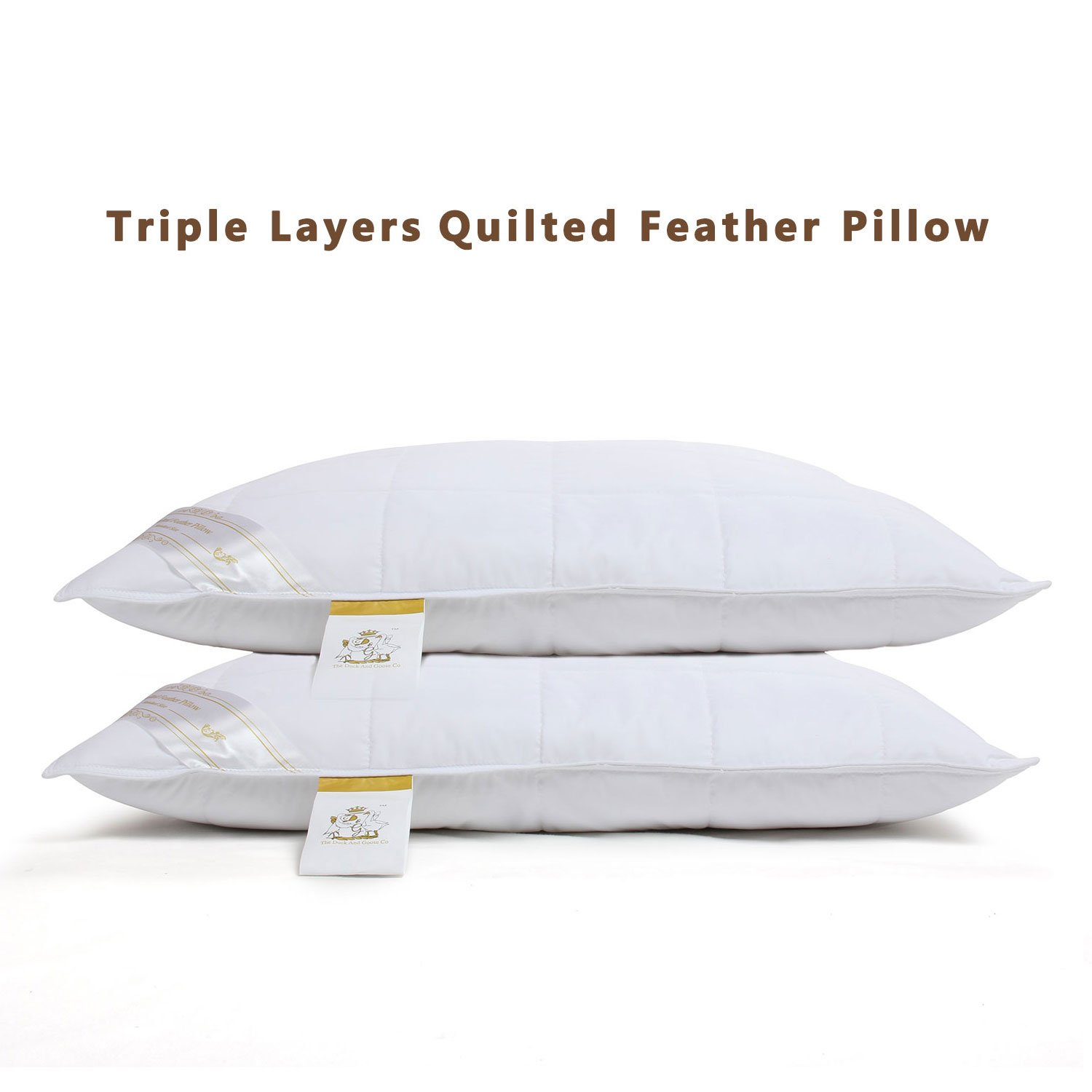 The Duck And Goose Co Quilted Duck Feather Pillow, Set of 2 Triple Layers Hotel Quality Pillow with 100gsm Down Proof Fabric, Avoids Prick Feel King