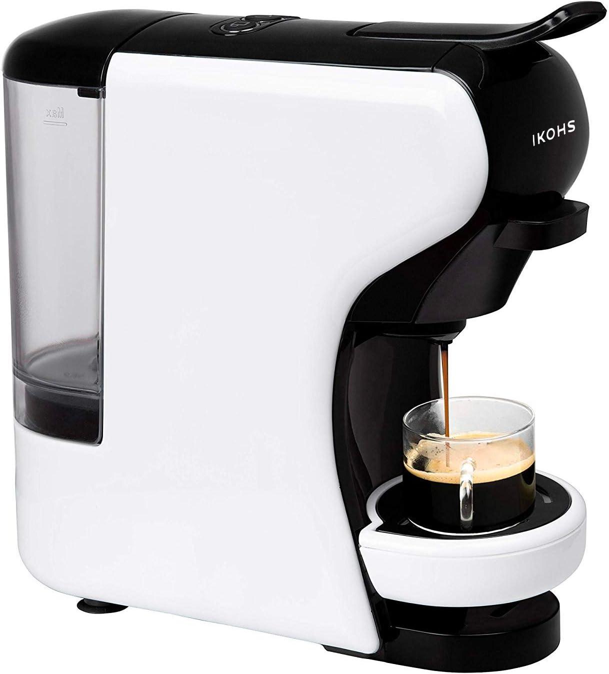 IKOHS Máquina de Café Espresso Italiano - Cafetera Multi Cápsulas Compatible Nespresso 3 en 1, 19 Bares con 2 Programas de Café, deposito extraíble, 0,6 L, Compacto, 1450 W, Apagado automático Blanco