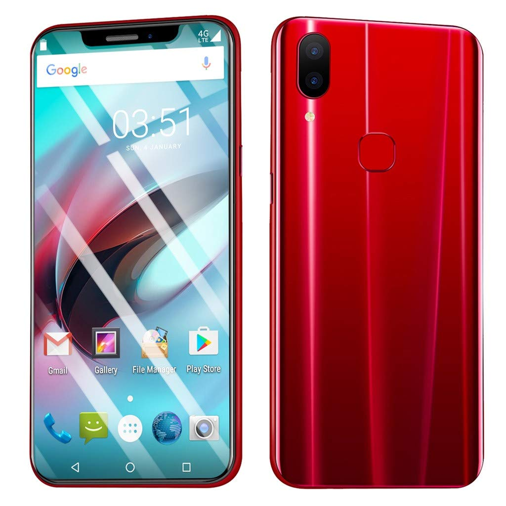 Unlocked Smartphone,2019 New Eight Cores 6.2 inch Dual HD Camera Android16GB Dual SIM 3G Mobile Phone Cell Phone (Red)