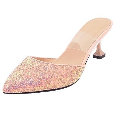 AIYOUMEI Glitzer Pantoletten Damen Kitten Heel Sandalen mit 5cm Absatz High Heels Mules
