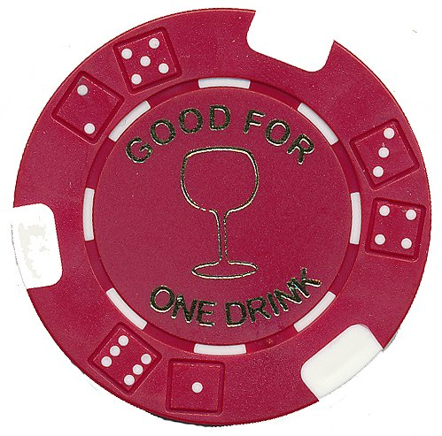 100 FREE DRINK RED POKER CHIPS TOKENS FOR RESTAURANTS OR BAR - WINE GLASS Drink Token
